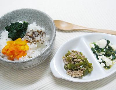 【離乳食後期】三色丼/豚ひき肉とピーマンの煮物/ニラ豆腐