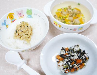 【離乳食後期】納豆ごはん/ひじきと野菜の豆腐和え/イワシのつみれ汁