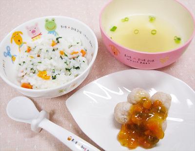 【離乳食後期】野菜のおじや/鶏団子の甘酢あん/アサリの味噌汁