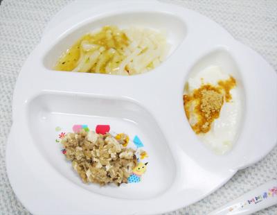 【離乳食後期】ヒラメの和風うどん/豆腐とキノコのゴマ煮/きな粉ヨーグルト