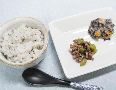 【離乳食後期】ゴマ味噌がゆ/牛肉とインゲンの煮物/ひじきのマヨネーズ和え