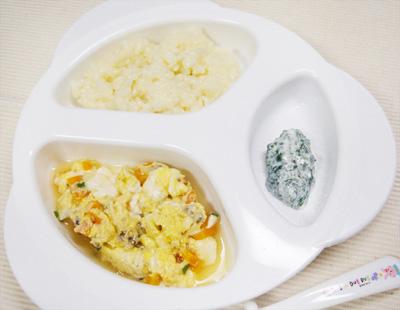 【離乳食後期】豆乳おじや/すき焼き風/青菜のヨーグルト和え