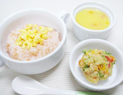 【離乳食後期】卵とトマトのリゾット/カラフル野菜のポテトサラダ/パプリカのカボチャポタージュ