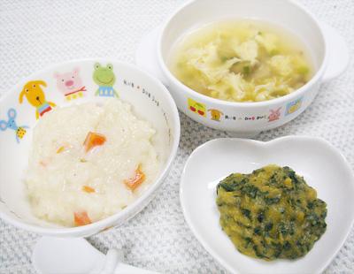 【離乳食後期】シラスの豆乳おじや/青菜のレバー和え/卵とシイタケのスープ