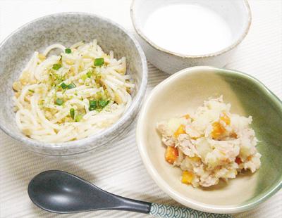 【離乳食後期】納豆パスタ/ツナジャガ/枝豆のミルクスープ
