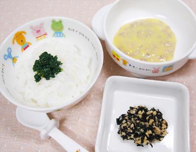 【離乳食後期】チンゲン菜のせご飯/豚ひき肉のコーン煮/ひじき納豆