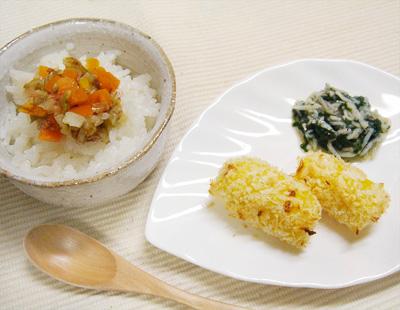 【離乳食後期】キャベツとニンジンのおかか和えご飯/カボチャコロッケ/水菜としらすのおひたし