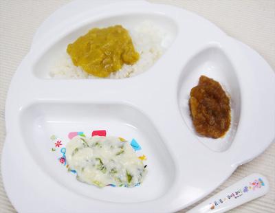 【離乳食後期】レバー野菜丼/ピーマンのクリーム煮/サツマイモのプルーン煮
