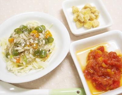 【離乳食後期】野菜のあんかけパスタ/パプリカのケチャップ煮/コロコロきな粉バナナ