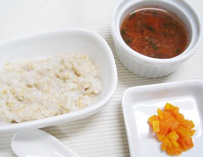 【離乳食後期】玉ねぎのオートミールがゆ/ニンジンのグラッセ/チンゲン菜のトマトスープ
