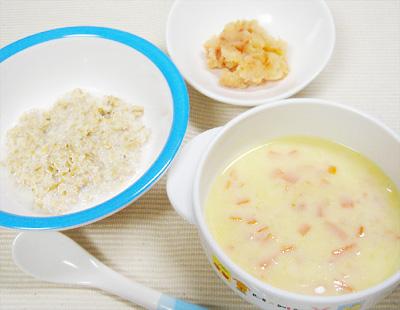 【離乳食後期】オートミールのミルクがゆ/トマトポテトマッシュ/コーンチャウダー