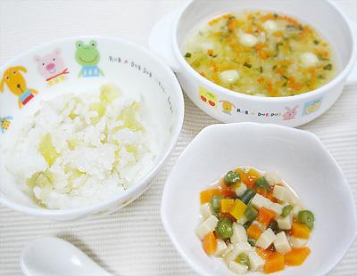 【離乳食後期】サツマイモご飯/高野豆腐と野菜の煮物/白身魚の団子スープ