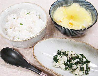【離乳食後期】マグロご飯/青菜とキノコの豆腐和え/お麩と野菜の卵豆腐