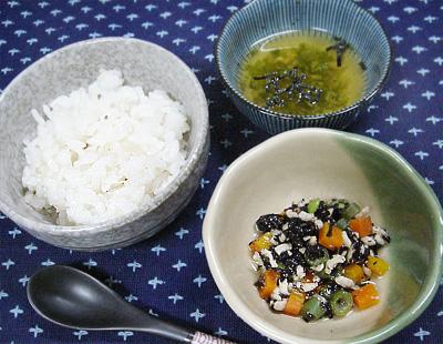 【離乳食後期】マイタケご飯/ひじきと野菜の煮物/オクラ汁