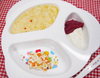 【離乳食後期】イタリアンパンがゆ/キャベツのチーズサラダ/紫イモ&リンゴヨーグルト
