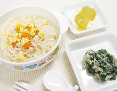 【離乳食後期】五目そうめん/青菜とキノコのおろしあえ/豆腐のレバーのせ