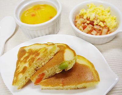 【離乳食後期】ミックスベジタブルホットケーキ/トマトと卵のマカロニサラダ/パプリカのカボチャポタージュ