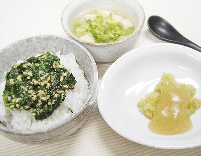 【離乳食後期】モロヘイヤのネバネバ丼/なす味噌/ブロッコリーと豆腐の味噌汁