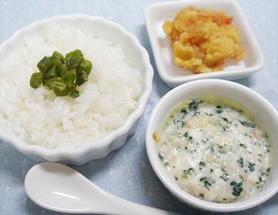 【離乳食後期】インゲンのせご飯/マグロとチンゲン菜のグラタン/トマト風味のスイートポテト