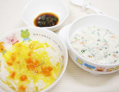 【離乳食後期】野菜のコーン煮丼/ホタテ入りミルクシチュー/プルーンレタス