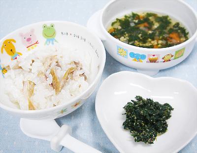 【離乳食後期】サンマご飯/ほうれん草のゴマ和え/納豆と野菜のスープ