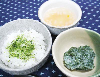【離乳食後期】しらすと青のりのおかゆ/モロヘイヤのとろろ和え/大根とニンジンの味噌汁
