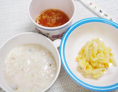 【離乳食後期】オートミールと野菜のチキンクリームリゾット/パプリカと野菜のポテトサラダ/ナスとトマトのスープ