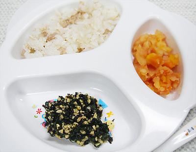 【離乳食後期】マグロと大根の混ぜご飯/和風トマト煮/ひじき納豆