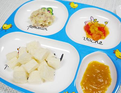 【離乳食後期】コロコロパンの裏ごし野菜と果物添え/ポークマッシュポテト/パプリカのケチャップ煮