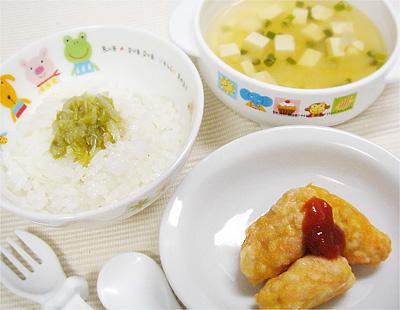 【離乳食後期】キャベツのせご飯/ニンジンのつくねスティック/長芋と豆腐のとろみスープ