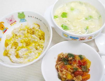 【離乳食後期】オートミールのカボチャリゾット/ナスとピーマンのトマト煮/レタスとチキンの卵スープ
