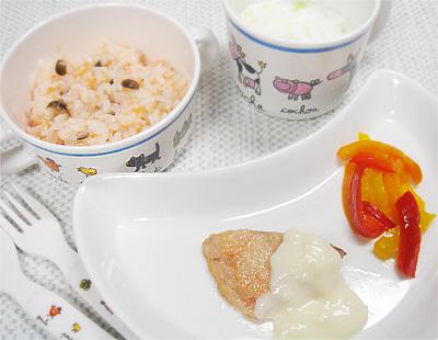 【離乳食後期】ニンジンとキノコのリゾット/鮭のムニエル/パプリカのバターソテー/キャベツのミルクスープ