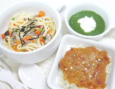 【離乳食後期】和風キノコスパゲッティ/トマトレバーグラタン/ほうれん草とグリーンピースのチーズサラダ