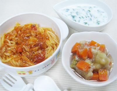 【離乳食完了期】トマトとツナとパスタ/野菜のバナナ和え/ほうれん草のミルクスープ