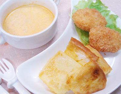 【離乳食完了期】フレンチトースト/ひき肉とポテトのコロッケ/トマトと豆腐のポタージュスープ