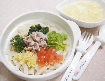 【離乳食完了期】冷しゃぶうどん/玉ねぎと卵のスープ