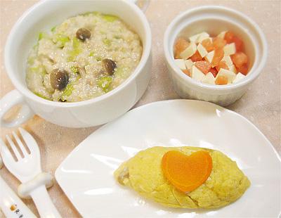 【離乳食完了期】キャベツとキノコのオートミールリゾット/レバーと野菜のオムレツ/モッツァレラトマト