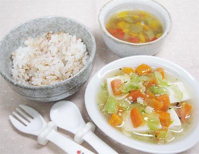 【離乳食完了期】おかか和えご飯/豆腐と野菜のひらめあんかけ/ピーマンのカラフル味噌汁