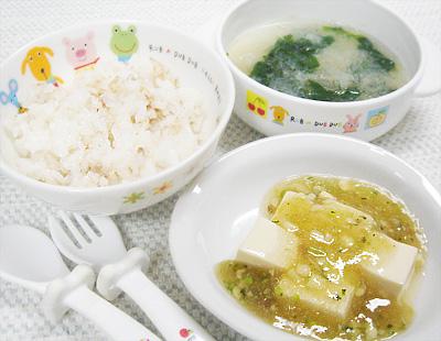 【離乳食完了期】おかか和えご飯/豆腐のひらめあんかけ/モロヘイヤのおろしスープ