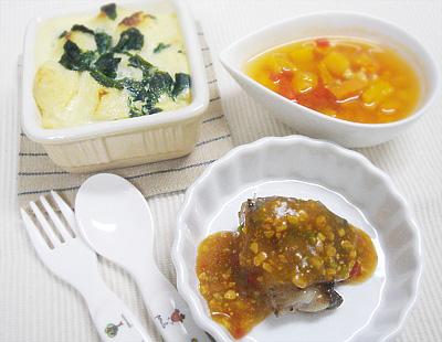 【離乳食完了期】ほうれん草のフルーツパンプディング/タラのバターソテーの中華ソース/パプリカのチキントマト煮