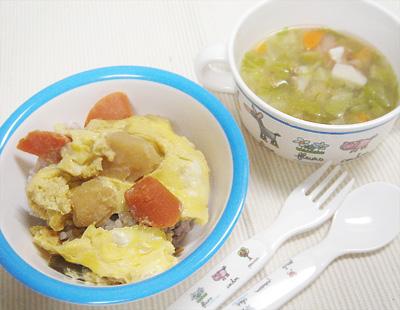 【離乳食完了期】肉ジャガの卵とじ丼/ホタテとキャベツのスープ