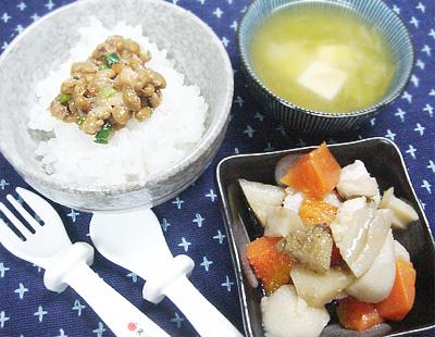 【離乳食完了期】納豆ご飯/ベビー筑前煮/豆腐とキャベツの味噌汁