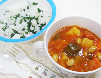 【離乳食完了期】小松菜のバターライス/具沢山野菜と大豆のトマト煮込み