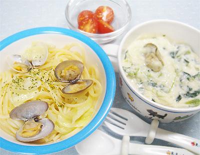 【離乳食完了期】あさりとキャベツの和風スパゲッティ/牡蠣とほうれん草のクリームスープ/プチトマト