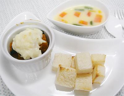 【離乳食完了期】コロコロトースト/ほうれん草とカボチャのグラタン/カラフル野菜のコーンスープ