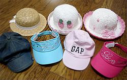 ミユの帽子コレクションの一部